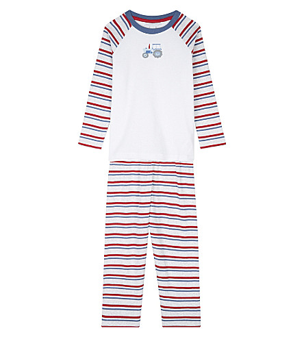 THE LITTLE WHITE COMPANY Appliqué tractor motif cotton pyjamas 1-6 years (Multi