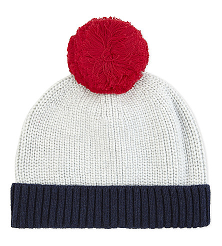 THE LITTLE WHITE COMPANY Knitted cotton bobble beanie 3-6 years (Multi
