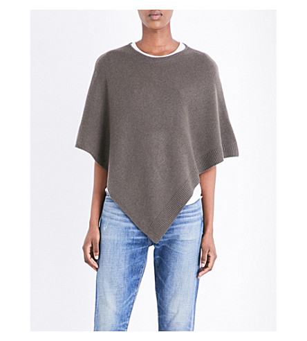 THE WHITE COMPANY Asymmetric wool and cashmere-blend poncho (Clay