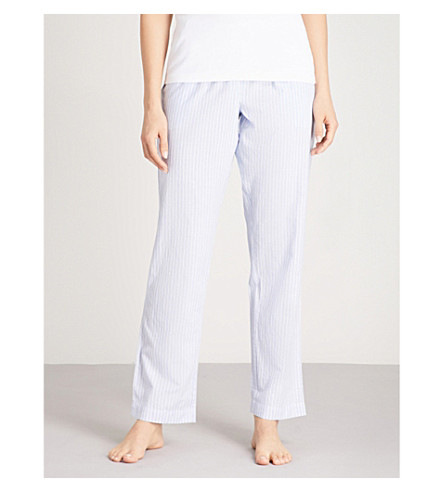 THE WHITE COMPANY Stripe pattern cotton pyjama bottoms (Blue+stripe