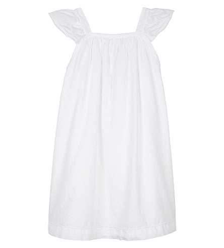 THE LITTLE WHITE COMPANY Frilled dobby cotton nightdress 1-6 years (White