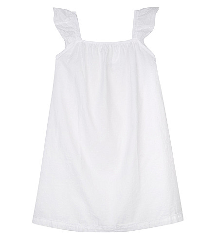 THE LITTLE WHITE COMPANY Frilled dobby cotton nightdress 6-12 years (White
