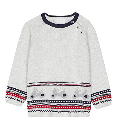 THE LITTLE WHITE COMPANY Fair Isle motorcycle knitted jumper 0-24 months (Ecru