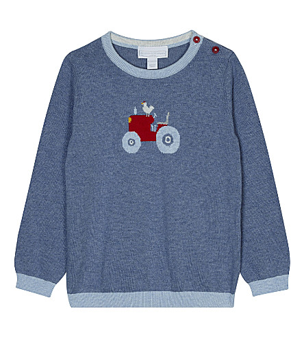 THE LITTLE WHITE COMPANY Tractor pattern cotton jumper 0-24 months (Blue+marl