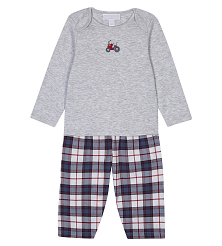 THE LITTLE WHITE COMPANY Cotton tractor pyjamas 0-18 months (Multi