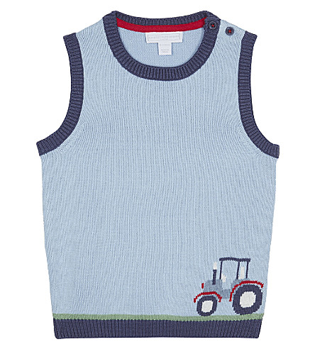 THE LITTLE WHITE COMPANY Tractor motif cotton tank top 0-24 months