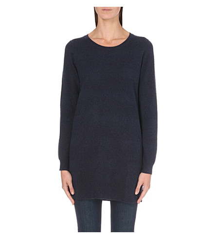 THE WHITE COMPANY Ribbed knit tunic sweater (Navy+marl