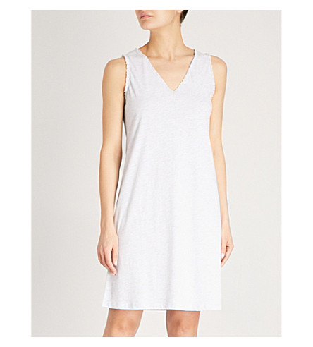 THE WHITE COMPANY Lace trim cotton nightdress (Cloud+marl