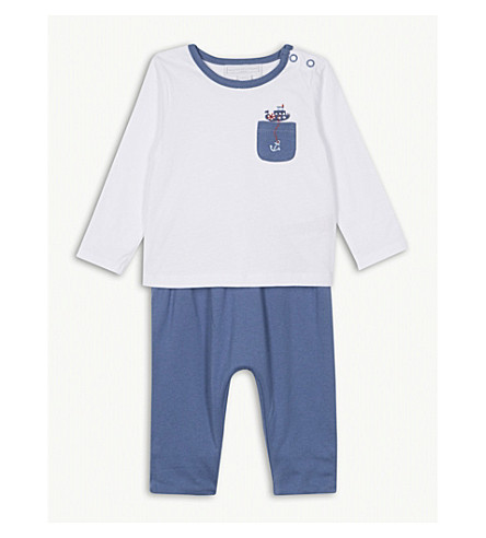 THE LITTLE WHITE COMPANY Nautical cotton trouser and T-shirt set 0-24 months (Multi