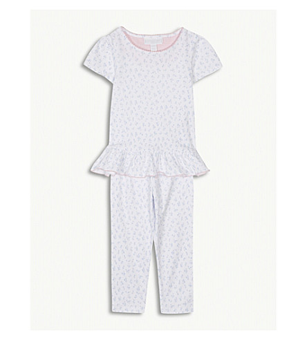 THE LITTLE WHITE COMPANY Tulip print cotton pyjamas 0-6 years (Blue