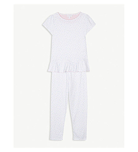 THE LITTLE WHITE COMPANY Tulip print cotton pyjama set 7-12 years (Blue