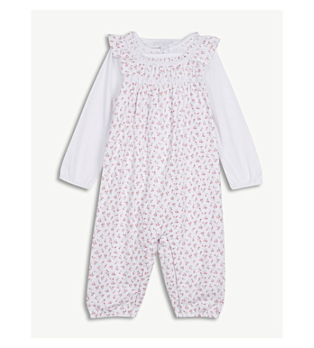 THE LITTLE WHITE COMPANY Floral cotton dungarees set 0-24 months (White/+pink