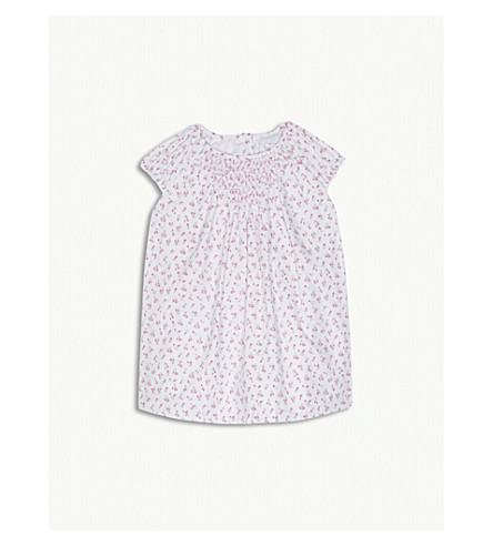 THE LITTLE WHITE COMPANY Tulip floral print cotton smock dress and knickers 0-24 months (Multi