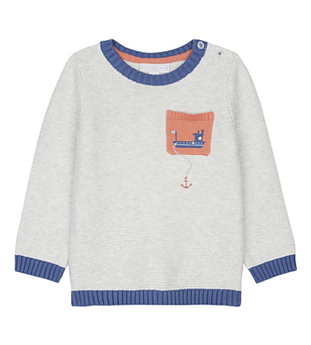 THE LITTLE WHITE COMPANY Tug boat knitted cotton sweater 0-24 months (Ecru
