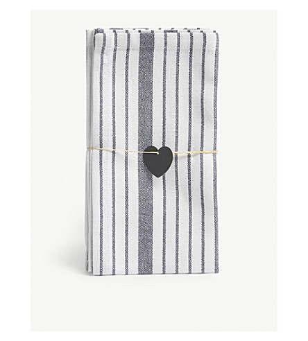 THE WHITE COMPANY Striped cotton napkins pack of four (White/blue