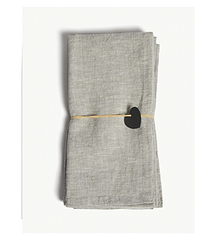 THE WHITE COMPANY Linen napkins set of four (Grey