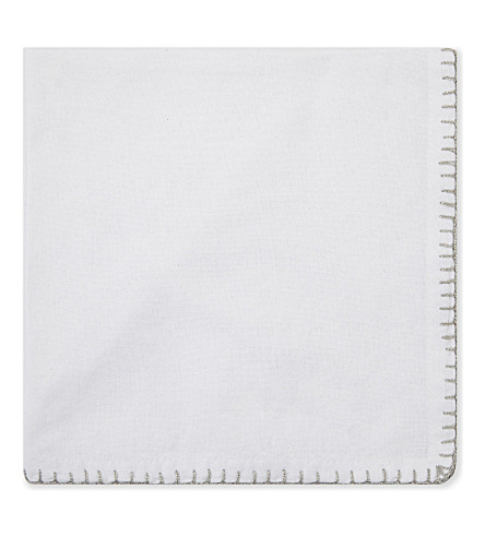 THE WHITE COMPANY Napkins with sparkle trim pack of four (White