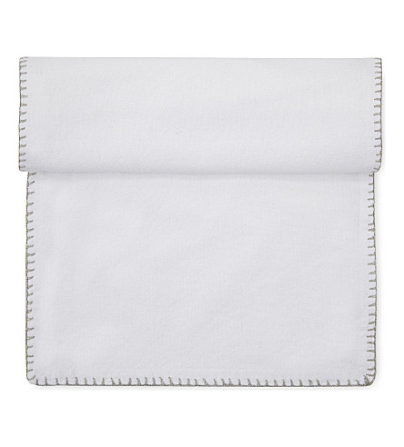 THE WHITE COMPANY Cotton table runner with silver trim (White