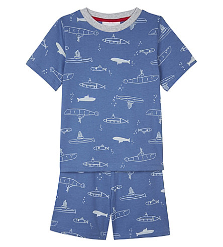 THE LITTLE WHITE COMPANY Undersea adventure print cotton pyjamas 1-6 years (Blue