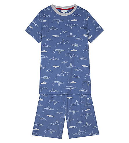 THE LITTLE WHITE COMPANY Undersea Adventure glow in the dark cotton pyjamas 6-12 years (Blue