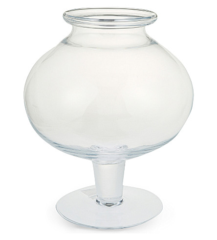 THE WHITE COMPANY Glass pillar footed vase (Clear