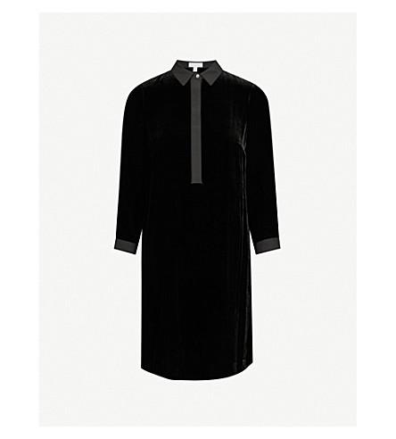 THE WHITE COMPANY Velvet mini shirt dress (Black