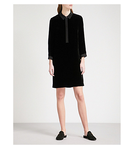 THE WHITE COMPANY Velvet mini shirt dress (Black