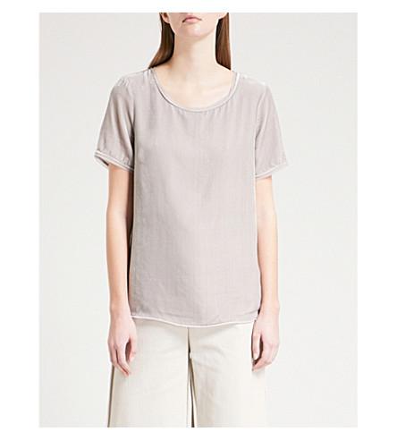 THE WHITE COMPANY Round-neck velvet top (Frost+grey