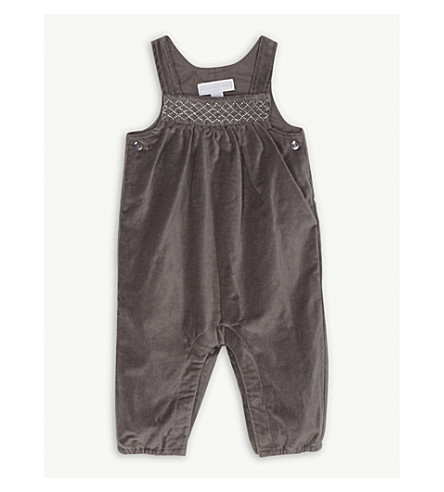 THE LITTLE WHITE COMPANY Velvet metallic detail dungarees 0-24 months (Eclipse