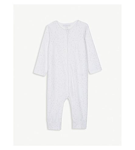 THE LITTLE WHITE COMPANY Heart print velour sleepsuit 0-24 months (White