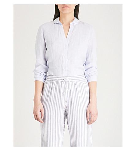 THE WHITE COMPANY V-neck linen shirt (Pale+blue