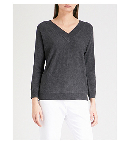 THE WHITE COMPANY V-neck knitted jumper (Darkcharcmarl