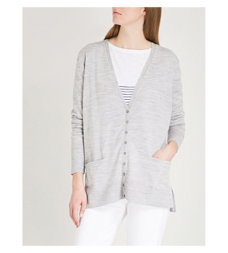 THE WHITE COMPANY V-neck wool cardigan (Grey/black