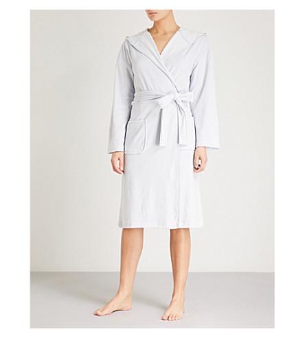 THE WHITE COMPANY Short velour robe (Pale+blue
