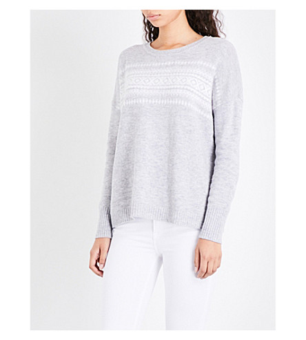 THE WHITE COMPANY Fair Isle-patterned wool-blend jumper (Pale+grey+marl