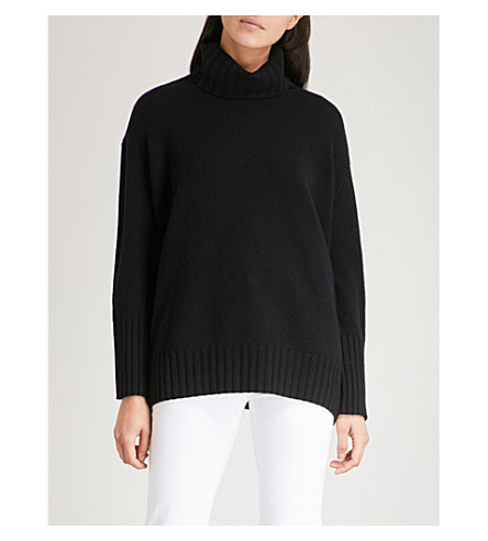 THE WHITE COMPANY Chunky rollneck wool jumper (Black