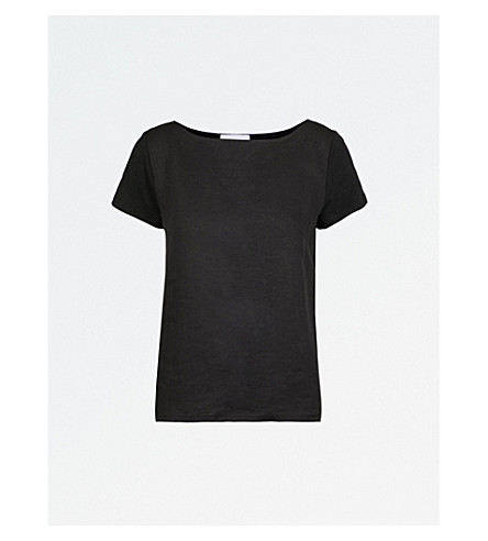 THE WHITE COMPANY Woven front linen tee (Black