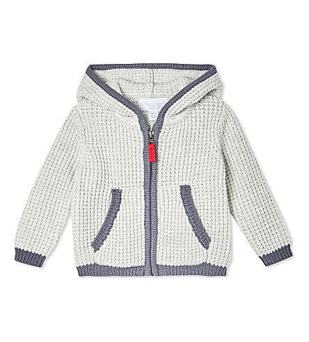 THE LITTLE WHITE COMPANY Waffle knit cotton hoody 0-24 months (Ecru