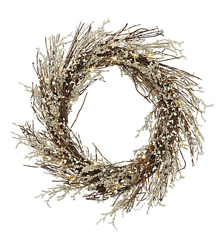 THE WHITE COMPANY Pre-lit bud & beaded wreath (Natural