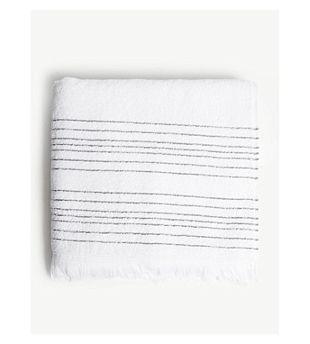 THE WHITE COMPANY Whitstable striped cotton hand towel 50x90cm (White/+clay