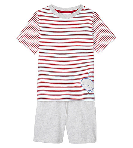 THE LITTLE WHITE COMPANY Whale print striped cotton pyjamas 1-6 years (Red+stripe