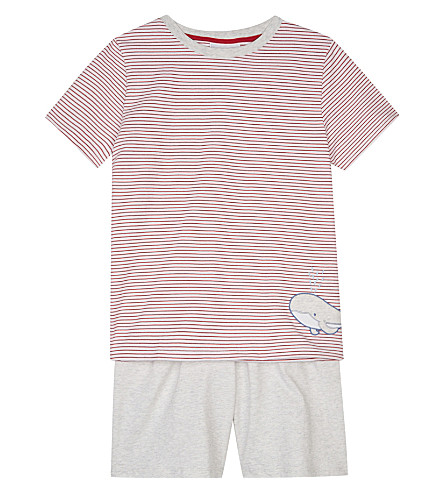 THE LITTLE WHITE COMPANY Whale and striped cotton pyjamas 6-12 years (Red+stripe
