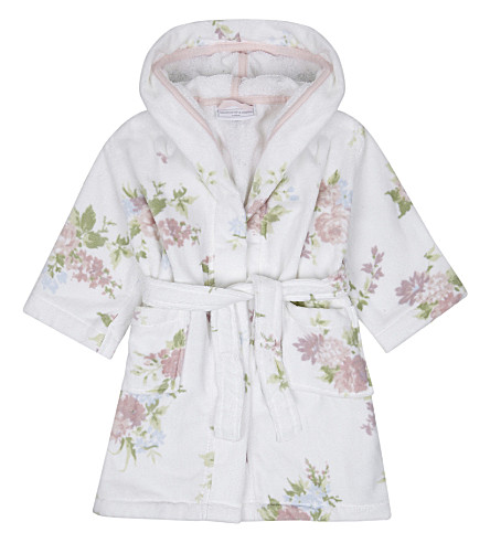 THE LITTLE WHITE COMPANY Winter Isabella cotton dressing gown (White/blue