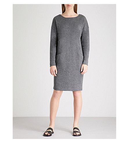 THE WHITE COMPANY Boat neck wool and cotton-blend dress (Charcoal