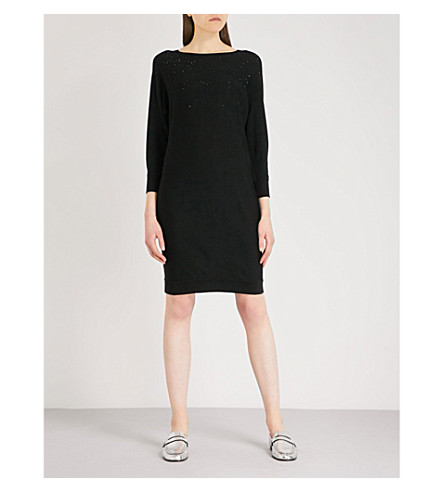THE WHITE COMPANY Embellished batwing-sleeve wool dress (Black