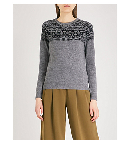 THE WHITE COMPANY Fairisle embellished merino wool jumper (Grey+marl