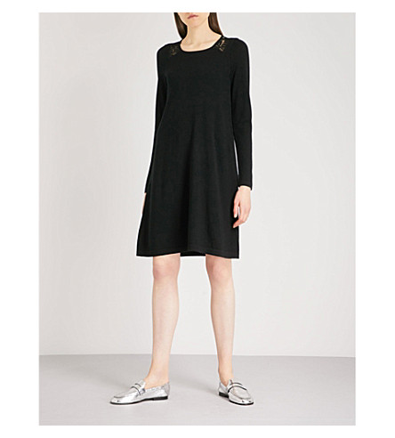 THE WHITE COMPANY Lace-panelled merino wool dress (Black