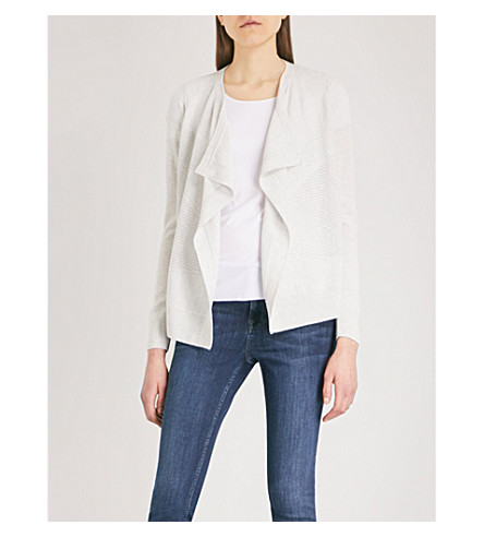 THE WHITE COMPANY Draped merino wool cardigan (Cloud+marl