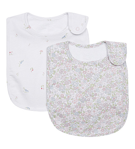 THE LITTLE WHITE COMPANY Set of two woodland floral bibs (Multi
