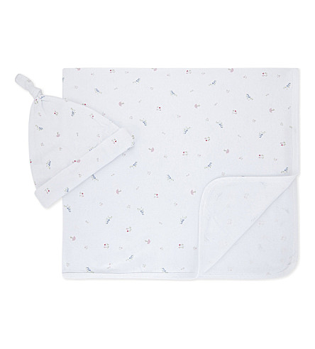 THE LITTLE WHITE COMPANY Woodland cotton blanket and hat set newborn-24 months (Multi